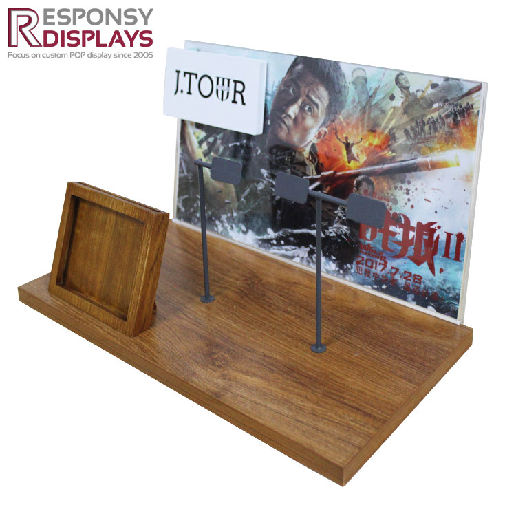 Creat Top Wood Watch Case Wristwatch Display Rack With Poster