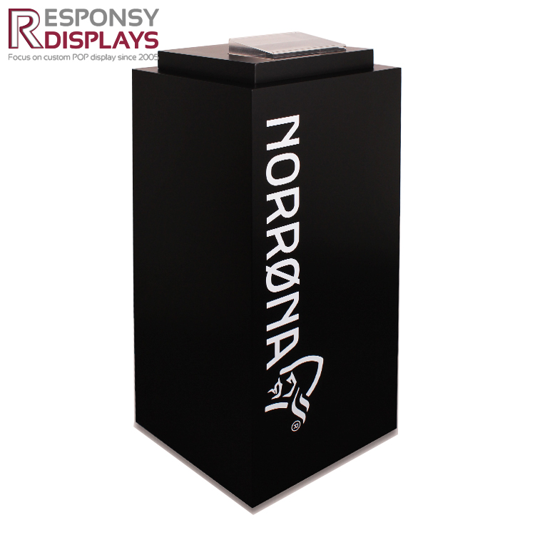 Custom-Made Floor Standing Black MDF Clothing Display Stand