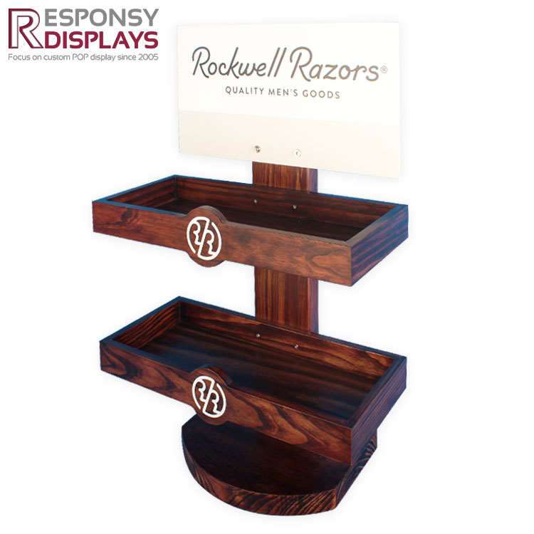 Counter custom pine wood color paint men's razor display rack