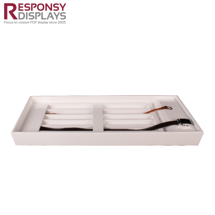 Countertop Sales Promotion Square MDF Retail Display Tray For Wallet And Belt