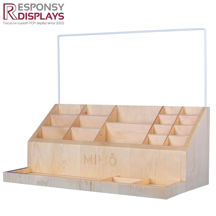 Shopping Mall Counter Natural Wood Glass Bottle Display Stand