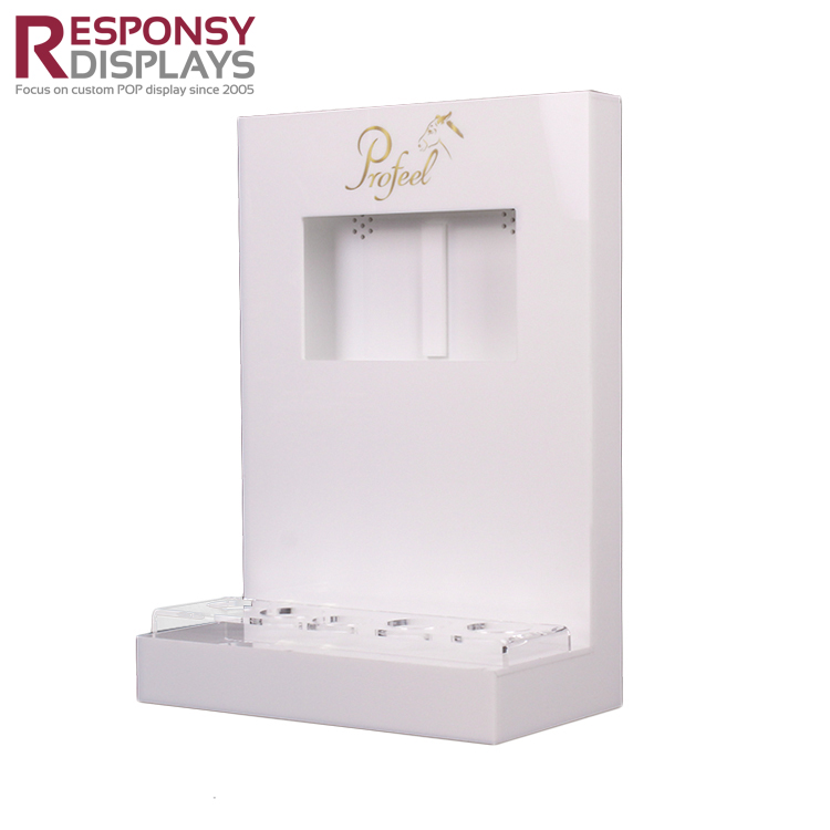 Custom Acrylic Skin Care Product Display Stand With LCD Screen