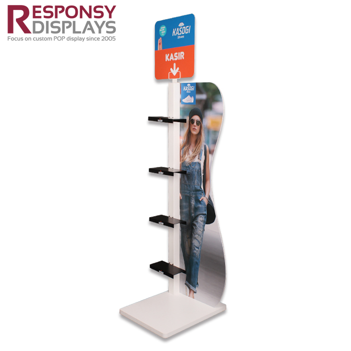 Customized Floor Metal Shoes Store Display Racks With PVC Graphic Panel