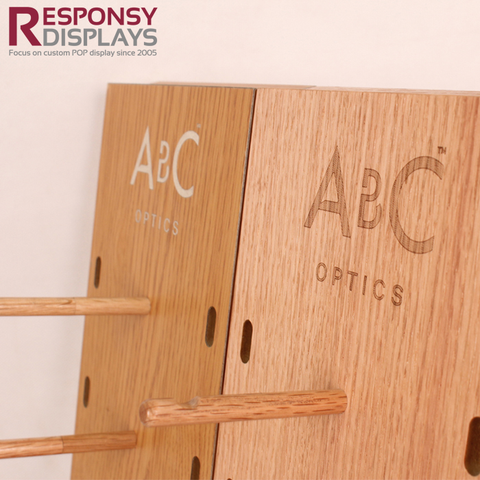 Creatively Alphabetic Glasses Wooden Cell Table Display Rack With Two-sided Pegs
