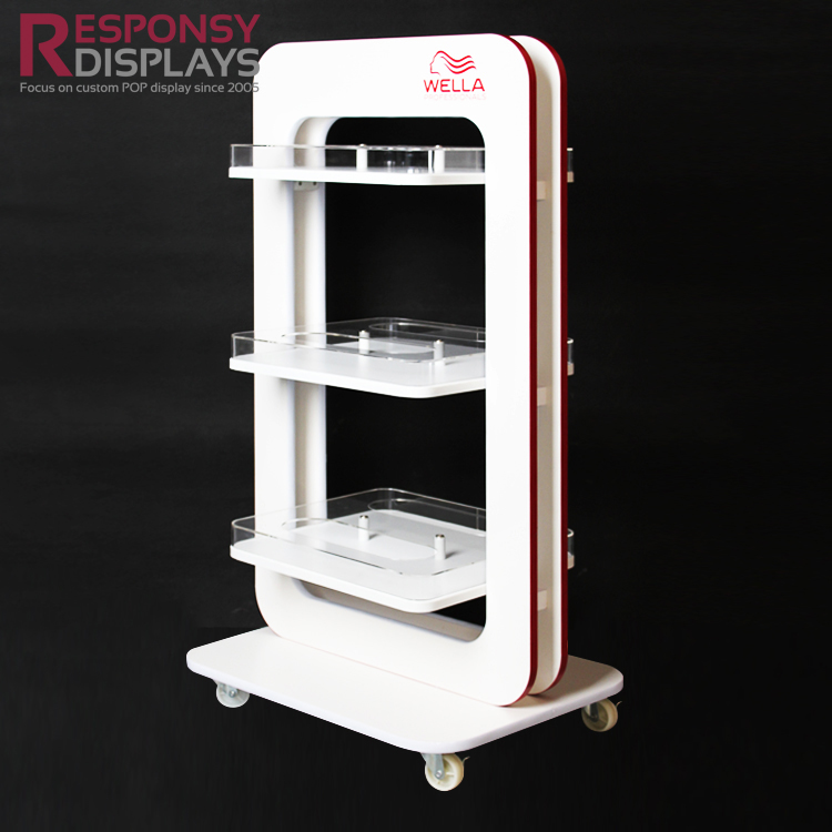New Design 3 Layers Wood Acrylic Cosmetic Display Stand With 4 Wheels