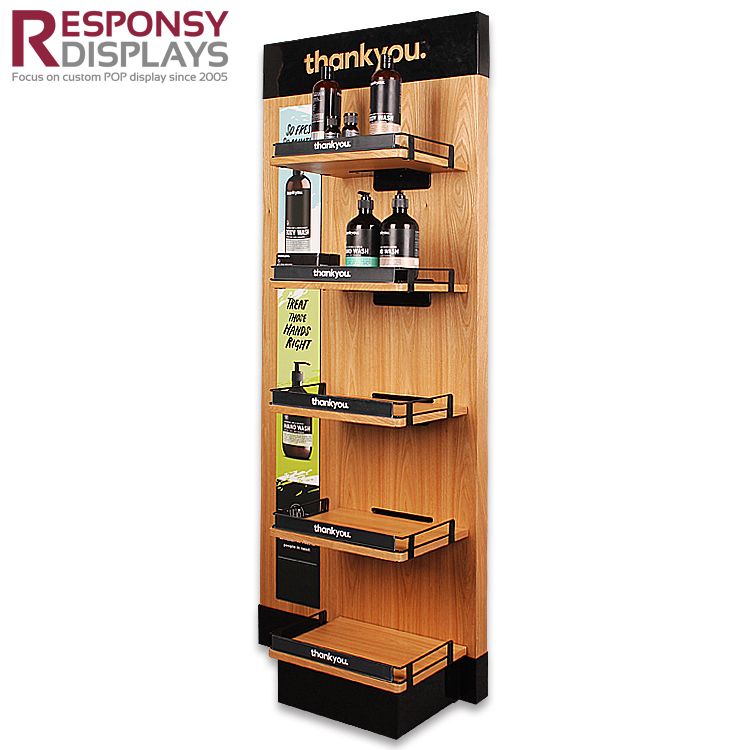 Custom Floor Wood Hand Cream Shampoo Make Up Display Shelves