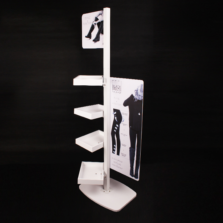 Fashion Design Wood And Metal Floor Standing Skinny Pants Display With A Big Logo Board
